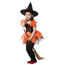 Kids Witch Wizard Charm Cute Girls Halloween Party Fancy Dress Costume Outfit