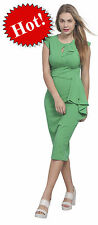 MARYCRAFTS GREEN WOMENS VINTAGE PIN UP WIGGLE 1950'S BODYCON MIDI EVENING DRESS