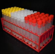 60 x Plastic Test tubes with tops tray.100 x 16mm ,10ML Volume. PP tubes, New