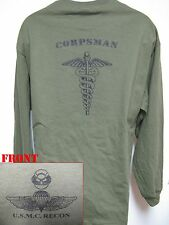 USMC RECON LONG SLEEVE T-SHIRT/ HOSPITAL CORPSMAN/ NAVY/ MILITARY/  NEW