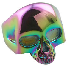Unisex 316L Stainless Steel Rainbow Skull Head Finger Ring Death Punk Size 9-13