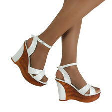 WOMENS WHITE FASHION MID HIGH HEEL WEDGES ANKLE STRAP PLATFORM SHOES UK SIZE