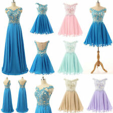 Stock Short Formal Evening Gown  Bridesmaid Dress Wedding Party Dress Size 6-20