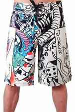 NWT Ed Hardy Swim Board Shorts Joker in Natural!! 100% Authentic!!