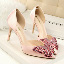 Shallow Mouth Pumps Pointed Rhinestone Bow Womens High Heels Sandals Party Shoes