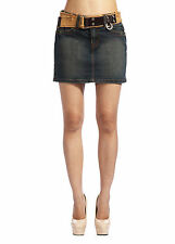 Marlow Womens Denim Mini Skirts Ladies Jeans Shorts Belt Vintage Blue SZ 4-14