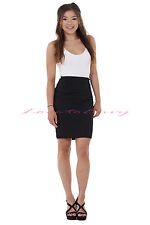 Ladies Girls School Work Office Party Black Tailored Bodycon Pencil Skirt uk6-16