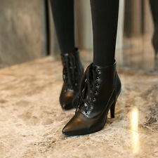 New Women's Black Pointy Toe Ankle Boot Stilettos High Heel Lace Up Booties Shoe