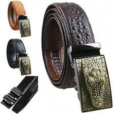Mens Alligator Embossed Ratchet Automatic Buckle Genuine Leather Belt Waistbelt