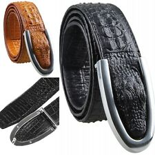 Mens Genuine Leather Belt Crocodile Embossed Alloy Plaque Buckle Waist Belt 45''