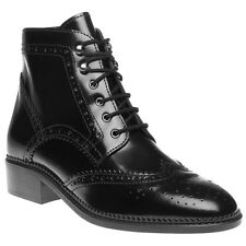 New Womens SOLE Black Alanis Leather Boots Ankle Lace Up