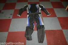 AGV SPORT BLACK SILVER BLUE MENS TWO PIECE LEATHER MOTORCYCLE SUIT VARIOUS SIZES