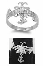 Cute Butterfly Fleur De Lis Charm Ring Solid 925 Sterling Silver Russian CZ