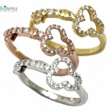 Heart Key Ring Solid 925 Sterling Silver Rose,Yellow Gold plated Russian CZ