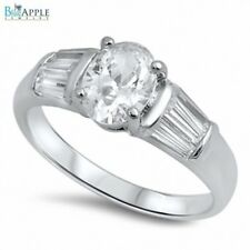 Wedding Engagement Anniversary Bridal Ring 925 Sterling Silver Oval Russian CZ
