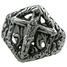 Cross Jesus 316L Stainless Steel Hollow Out Punk Gothic Finger Ring Men Jewelry