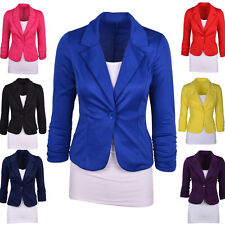 New Womens Slim Fit Jackets Candy Color Outwear One Button Blazer Coats Tops Hot