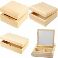 Wooden Box Pine Empress Tree Wood Magnetic Trinket Storage Paint Decorate CHOOSE