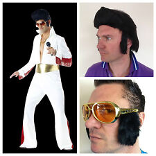 Adult Elvis1950s King of Rock N Roll Costume Jumpsuit Wig Glasses Fancy Dress
