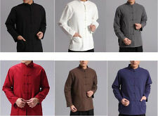 Mens Long Sleeve Kung Fu Tai Chi Tops Cotton Casual Shirt Chinese Style Sz M-4XL