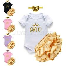 Baby Girls 1st Birthday Party Crown Clothing Romper Headband Bloomers Outfit Set
