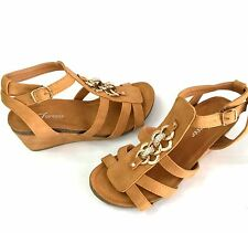 NEW Women Ladies Gold Chain Low Wedge Gladiator Buckle Slip on Tan Sandals