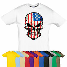 Skull tee AMERICA Rock top t-shirt Many size Gift for biker GOTH PUNK go USA