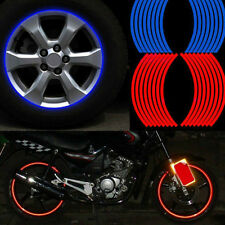 16 STRIPS BLUE RED REFLECTIVE MOTORCYCLE CAR RIM STRIPE WHEEL DECAL TAPE STICKER