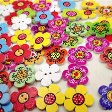 50/100X 20mm Mixed Color Wooden Flowers Sewing Buttons Scrapbooking Decorations