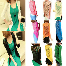 women Lady Candy Color Lace Crochet Knit Blouse Top Coat Sweater Cardigan new