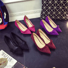 New Fashion Women Sweet Suede Bowtie Pumps Pointed Toe Thin Heel Wedding Shoes