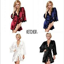 Sexy Women Lace Robe Silk Sleepwear Lingerie Nightdress G-string Belt Pajamas