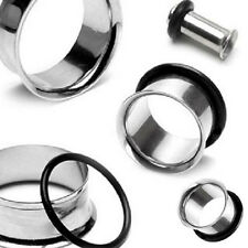 Pair Surgical Steel Flesh Tunnels Single Flare Ear Plugs Earring Expanders Ring
