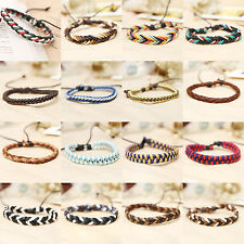 High New Women Mens Tribal Leather Christmas Bracelet Wristband Lucky Cuff Gift