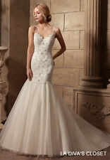 SPAGHETTI STRAPS FORMAL WEDDING DRESS WITH BEADED LACE APPLIQUES