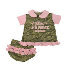 "Baby 2pc ABU Digital Camoflauge Embroider ""Air Force Princess"" Dress #3005-PINK"