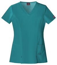 Dickies Scrubs Xtreme Stretch Scrub Top 82851 DTLZ Teal Junior Fit