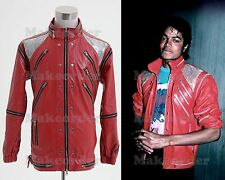 "Michael Jackson ""Beat It"" Thriller Red Zipper Jacket Costume Cosplay Halloween"