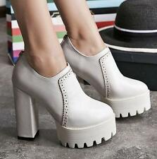 Women block chunky high heels platform zip up casual shoes oxford carving pumps