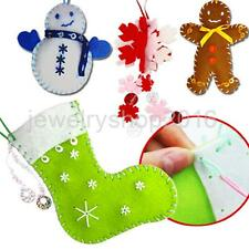 Christmas Tree Ornaments Decor Felt DIY Kit Gingerbread Man/Snowman