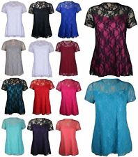 New Ladies Womens Plus Size Short Sleeve Floral Lace Top Dress 14 16 20 22 24 26