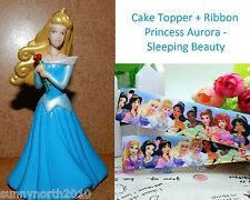 PRINCESS AURORA SLEEPING BEAUTY FIGURE CAKE TOPPER RIBBON DOLL BLUE DRESS 9cmH