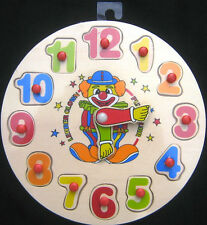 Wooden Clown Clock Jigsaw - learn to tell the time - educational toy