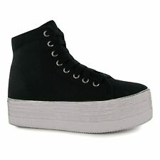 Jeffrey Campbell Play Canvas Washed Hi Top Trainers Womens Black/White Sneakers