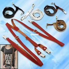 fashion men adjustable clip-on faux leather y-shaped suspenders braces 5 colors