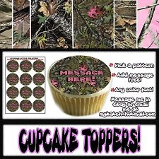 Edible Camouflage cupcakes toppers tops picture image birthday camoflage pattern