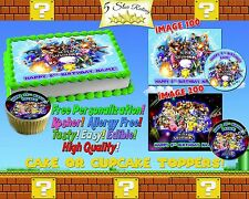 Super smash bros Birthday Cake topper Edible picture sugar sheet decal cupcakes