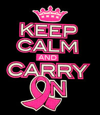 Keep Calm And Carry On Breast Cancer Awareness T-Shirt  All Sizes/Colors (370)
