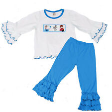 Girls Frozen Clothes Smocked Girls Infant & Toddler Blue Pant Set 6m NWT