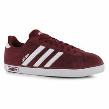 Adidas Derby Suede Trainers Mens Burgundy/White Casual Sneakers Shoes Footwear
